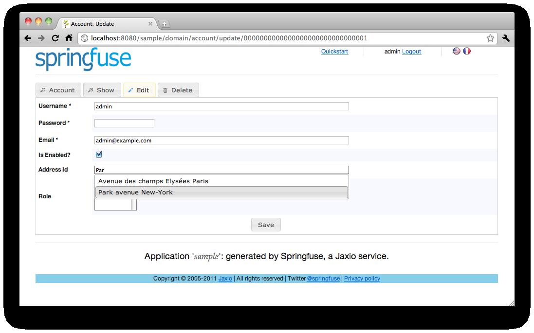 Generate Spring MVC3, JQuery, JPA2 CRUD Application